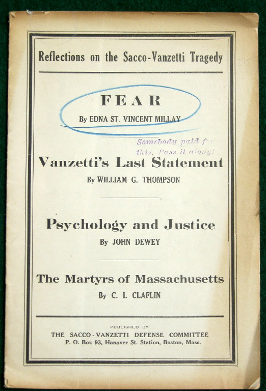 Reflections On The Saccovanzetti Tragedy Containing Fear Image For Reflections On The Saccovanzetti Tragedy Containing Fear